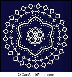 White Lotus Mandala Blue Background Vector Image