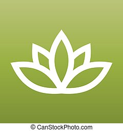 White lotus symbol on green background. Spa and wellness theme design element. Vector illustration