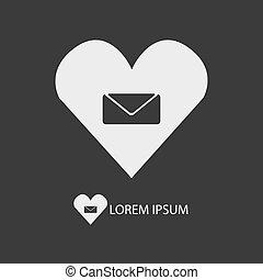 White love mail sign on dark grey background