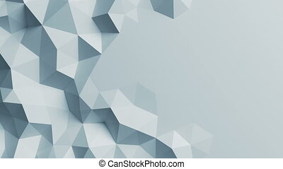 White Low Poly Surface Moving in Abstract 3d Animation. Seamless Background