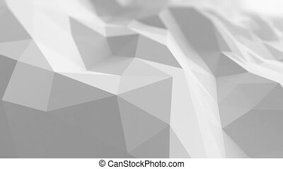 White Low Poly Surface Waving in Abstract 3d Animation. Seamless Background