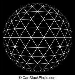 white lowpoly sphere - Abstract low poly triangulation...