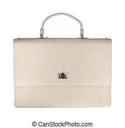 White luxury female handbag isolated on white background