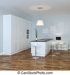 White Luxury Hi-Tech Kitchen With Bar (Perspective View)