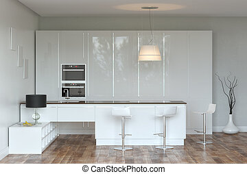 White Luxury Hi-Tech Kitchen With Bar (Front View)