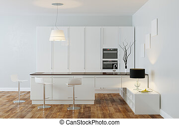 White Luxury Hi-Tech Kitchen