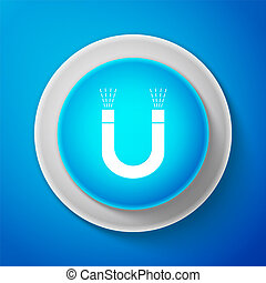 White Magnet icon isolated on blue background. Horseshoe magnet, magnetism, magnetize, attraction. Circle blue button with white line. Vector Illustration