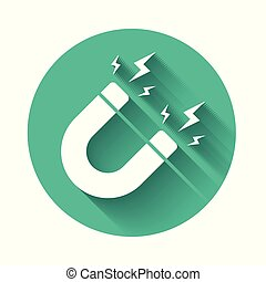 White Magnet with lightning icon isolated with long shadow. Horseshoe magnet, magnetism, magnetize, attraction sign. Green circle button. Vector Illustration