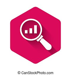 White Magnifying glass and data analysis icon isolated with long shadow. Pink hexagon button. Vector