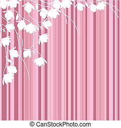 White magnolia branches on pink striped background.