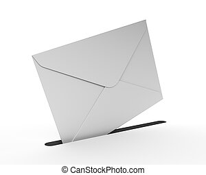 White Mail Envelope Isolated on the White Background....