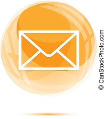 White mail icon in the orange glass