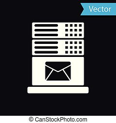 White Mail server icon isolated on black background. Vector Illustration
