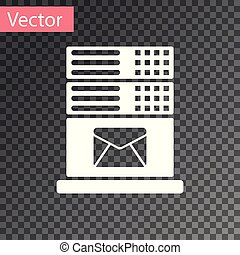 White Mail server icon isolated on transparent background. Vector Illustration
