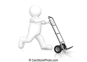 White man and hand truck with clipping path.
