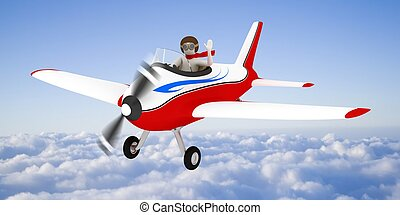 White man flying in the sky, over the clouds