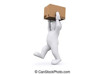 White man holding cardboard box with clipping path.