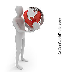 White man holds globe with heart, America part