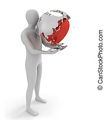White man holds globe with heart, Asia part