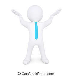 White man raised his hands up. 3d render isolated on white...