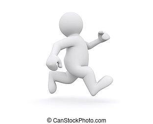 White man running. - White man running isolated on white...