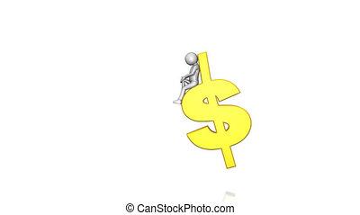 White man sitting on a dollar