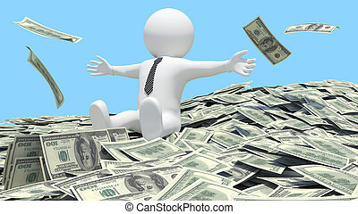 White man sitting on a pile of money fell from the sky. Blue...
