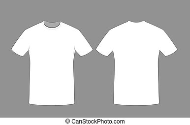 Blank t-shirt template. front and back side on a white background.