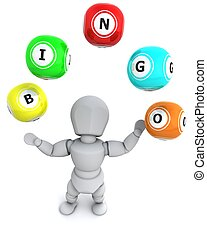 white man with bingo balls - 3d render of a man with bingo...