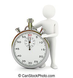 White man with stopwatch - White 3d man with big stopwatch...