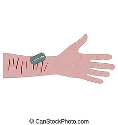 white man's hand with bleeding cuts and a blade. suicide attempt. white background isolated vector illustration