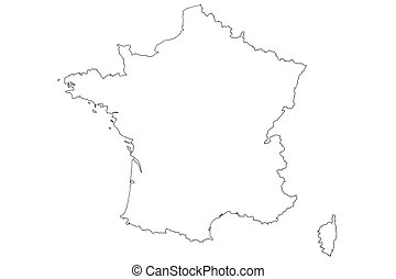 White Map of France with isolated on white background