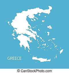 white map of Greece