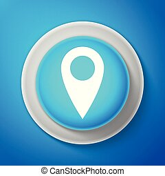 White Map pin icon isolated on blue background. Pointer symbol. Location sign. Navigation map, gps, direction, place, compass, contact, search concept. Circle blue button. Vector Illustration