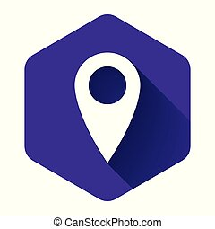 White Map pin icon isolated with long shadow. Pointer symbol. Location sign. Navigation map, gps, direction, place, compass, contact, search concept. Purple hexagon button. Vector Illustration