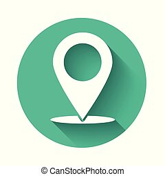 White Map pin icon isolated with long shadow. Pointer symbol. Location sign. Navigation map, gps, direction, place, compass, contact, search concept. Green circle button. Vector Illustration