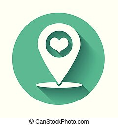 White Map pointer with heart icon isolated with long shadow. Green circle button. Vector Illustration