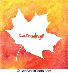 White maple leaf on orange watercolor background
