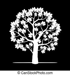 White Maple Tree. Vector Illustration.