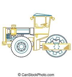 white., maquinaria pesada, chão, construção, rolo, constrói, works., azul, esboço, estradas, amarela