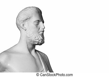 White marble bust of the greek physician Hippocrates, ...