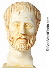 White marble bust of the greek philosopher Aristoteles, isolated on white