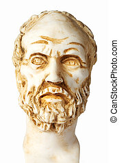 White marble bust of the greek philosopher Dimokritos, isolated on white