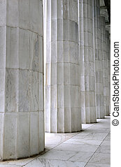 White marble fluted columns closeup