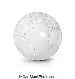 White Marble globe 3D illustration North and South America map