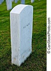 White Marble Headstone or Gravestone - White marble...