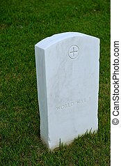 White Marble Military Style Headstone or Gravestone
