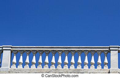 White marble parapet of blue sky
