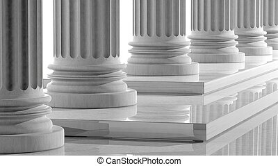 White marble pillars in a row with steps