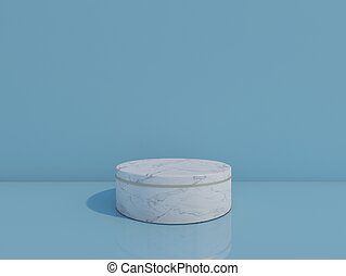 white marble podium on blue background. 3d rendering.